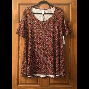 NWT LuLaRoe Perfect T- Red & Orange Floral
